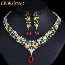 Cwwzircons alta qualidade gota de água zircônia cúbica casamento nupcial colar conjuntos jóias noivas luxo jóias acessórios t310