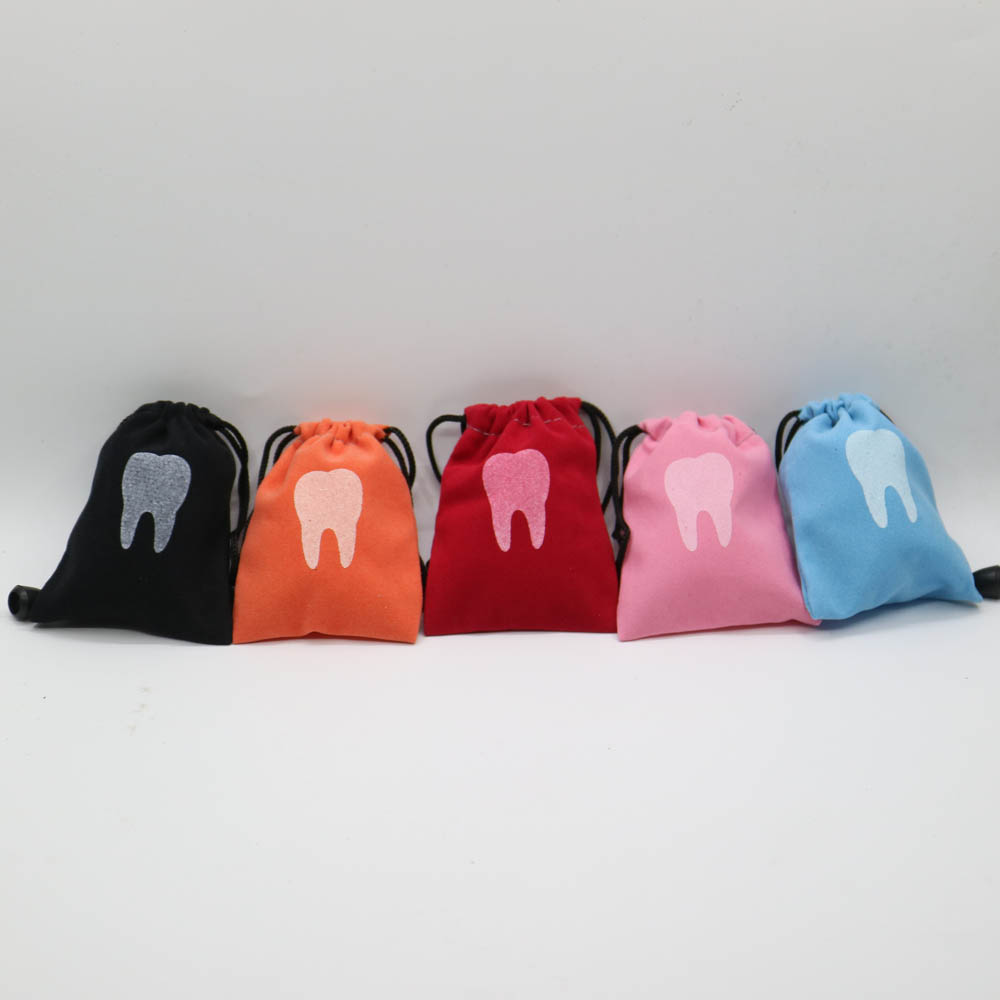 10pcs Dental Clinic Gift Deciduous Teeth Storage Bag Baby Primary Teeth Case Milk Teeth Bag The Tooth Fairy Bag Size 7*9cm