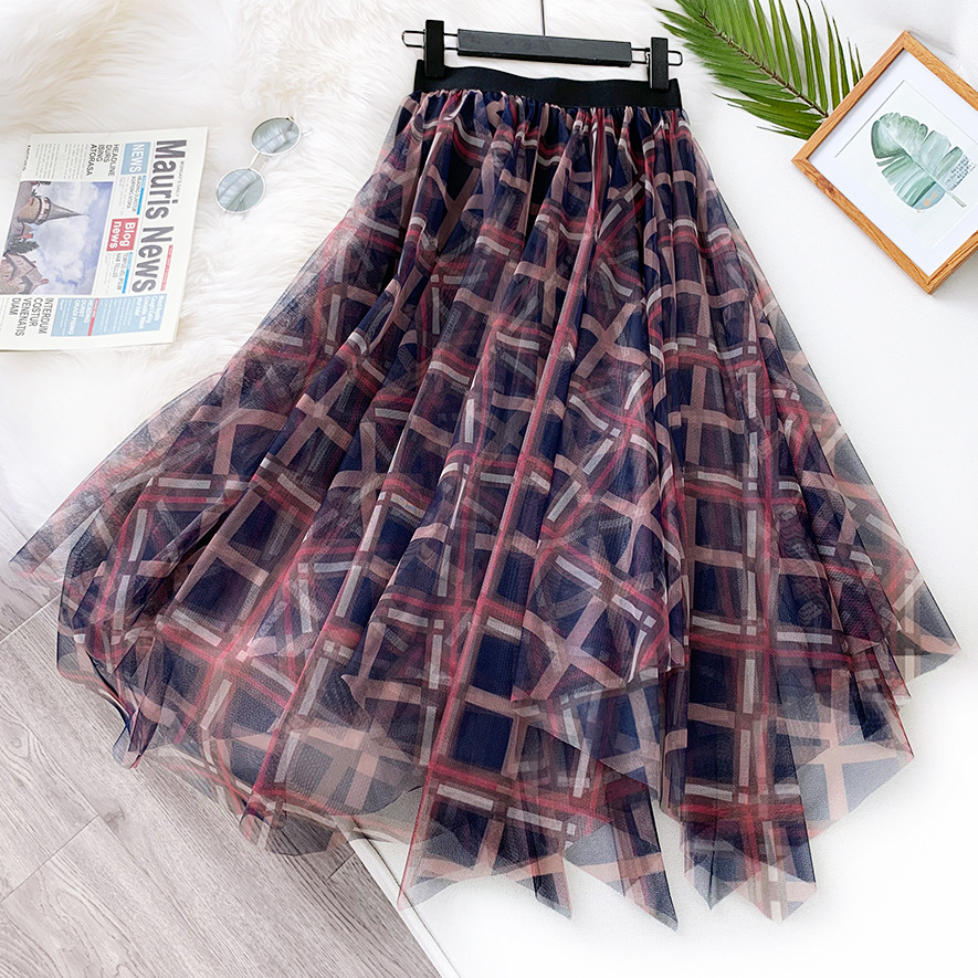 Faldas Mujer 2020 New Vintage Mesh Skirts Women High Waist Plaid Tutu Skirts Jupe Femme Saias Casual Women A-Line Skirts Outwear