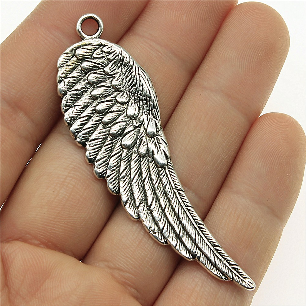 WYSIWYG 2pcs 66x20mm Antique Silver Color Wing Pendants Charm Big Angel Wing Pendants Charm For Jewelry Making