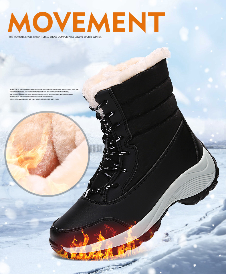 2019 Women Snow boots Waterproof Non-slip Parent-Child Winter Boots Thick Fur Platform Waterproof and Warm Shoes Plus Size 31-42 43