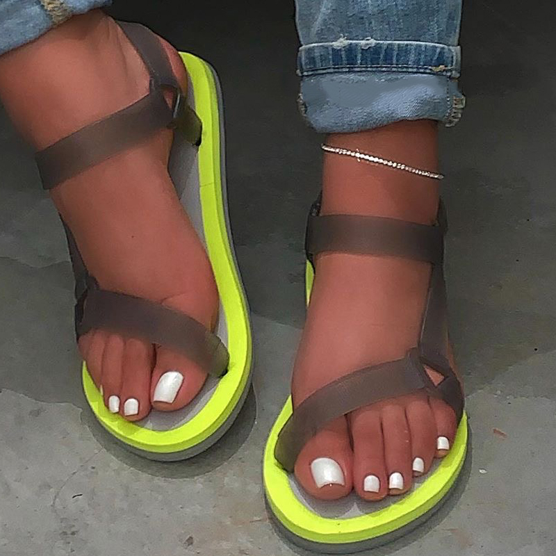 NouC INS Hot 2020 Flat Sandals Women Summer Shoes Handmade PVC Gladiator Sandals Women Casual Platform Sandals Sandalias
