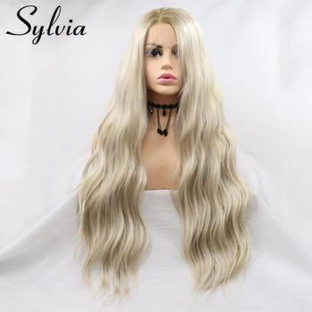 Sylvia Synthetic Lace Front Blonde Wig Heat Resistant Hair Ombre Loose Wave Wig Brown Root Side Part Long Daily Wig For Women elegant blonde side bang capless long big wave heat resistant synthetic wig for women