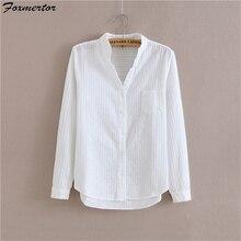 Foxmertor хлопковая рубашка белая блузка весна осень женские блузки повседневные топы с длинными рукавами однотонные карманные Блузы#06