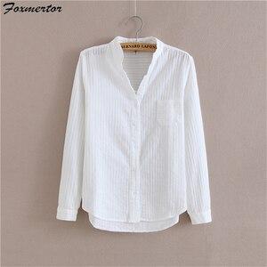 Image 2 - Foxmertor % 100% Pamuklu Gömlek Beyaz Bluz 2018 Ilkbahar Sonbahar Bluz Gömlek Kadınlar Uzun Kollu Casual Tops Katı Cep Blusas #06