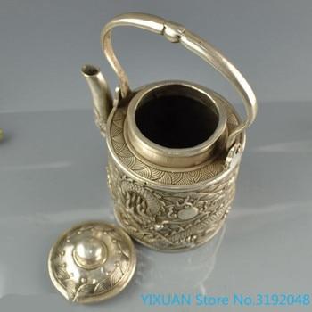 Accesorios de decoración del hogar: hervidor de vino de cobre blanco hervidor portátil tetera de dragón simple hervidor de br