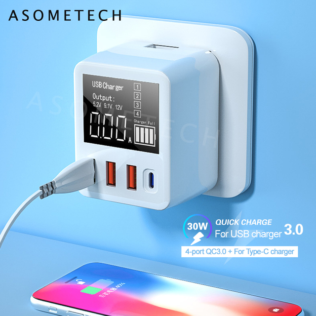 QC3.0 מהיר טעינת סוג C USB מטען 4 יציאות נייד טלפון מטען 30W LED תצוגה עבור iPhone סמסונג נסיעות קיר מטען