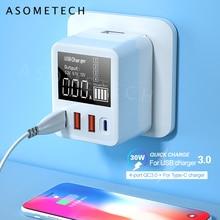 QC3.0 Fast Charging Type C USB Charger 4 พอร์ตชาร์จโทรศัพท์แบบพกพา 30W LEDสำหรับiPhone Samsung Travel wall Charger