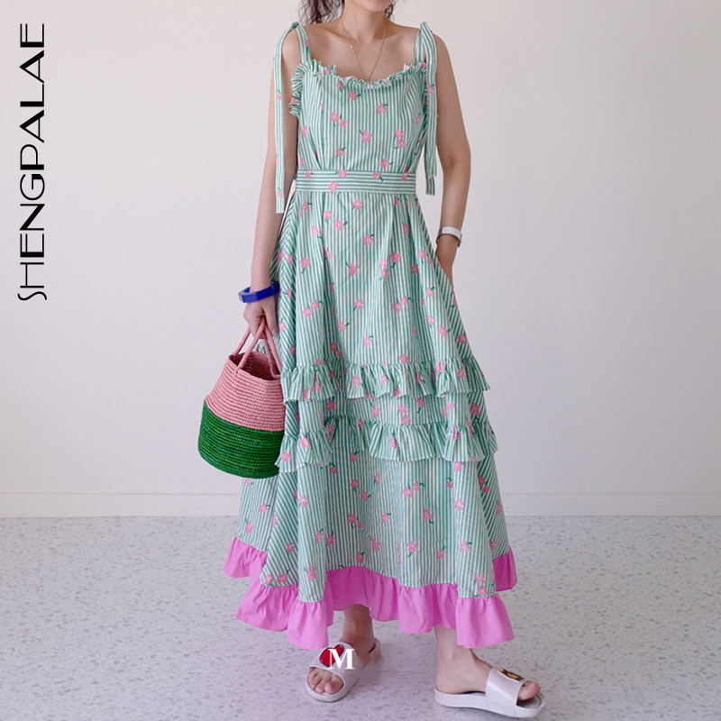 SHENGPALAE 2020 New Summer Women Vintage Loose High Waist Slim Was Thin Elegant Splice Suspenders Hit Color Maxi Dress ZA4054