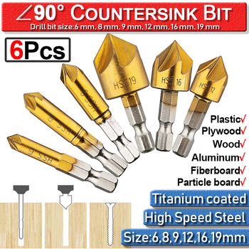 цена на Cutter Countersink Bit Metal Countersink Drill Bit 6-19mm Wood Working 6Pc Chamfer Screw Hole 1/4 Hex 5 Flutes Tool Accessories