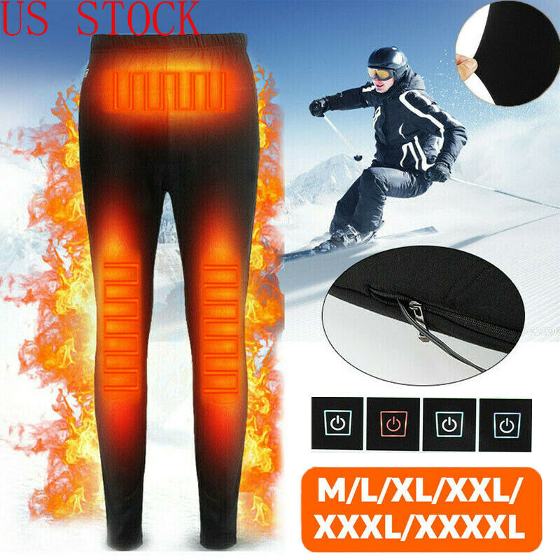 Hot Unisex Winter Men Women Electric Heated Pants Trousers USB Elastic Heating Base Thick Warm Skinny Pant Plus Size L-4XL