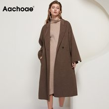 Long Coat Outerwear Aachoae Double-Breasted Casual Women 100%Wool Chic Solid Sashes Loose
