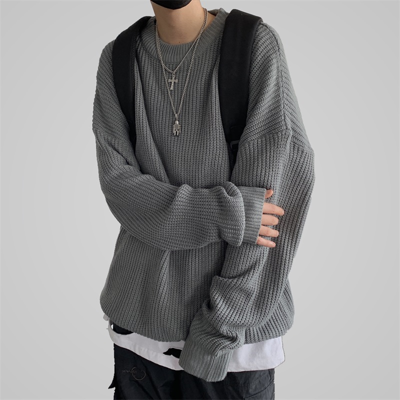 LEGIBLE Oversized O-Neck Sweater Men Casual Autumn Winter Warm Sweater Pullover Male Solid Knitted Male Sweaters