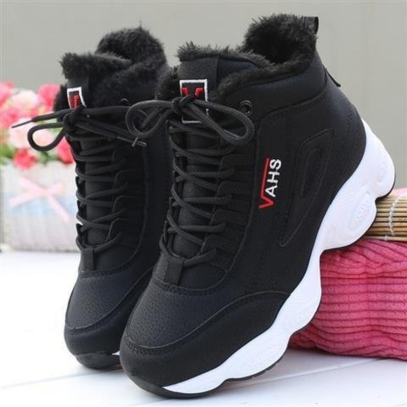 Autumn Winter New Super-fire Women's Sneakers Thick-soled Shoes Women's Plush Warm High-top Woman Shoes Platform Sneakers