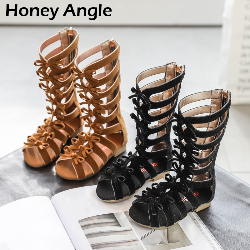 Summer New Fashion Kids Roman Sandals For Girls High Top Bow-knot Children Sandals Korean Style Little Girl Casual Shoes