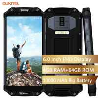 "OUKITEL WP2 IP68 impermeable polvo a prueba de descargas móvil teléfono 4G RAM 64G ROM Octa Core 6,0 ""10000 mAh huella dactilar Smartphone phablet"