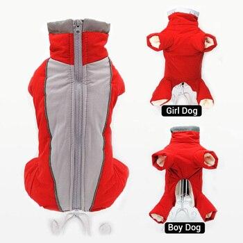 Зимние комбинезоны для собак, теплые водонепроницаемые брюки, Мужская/женская одежда для маленьких собак, светоотражающая пуховая куртка д...