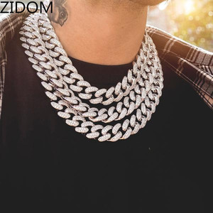 Image 2 - 2019 Men Hip hop  Iced Out Bling chain Necklace pave setting rhinestone 20mm width Miami Cuban chains necklaces Hiphop jewelry