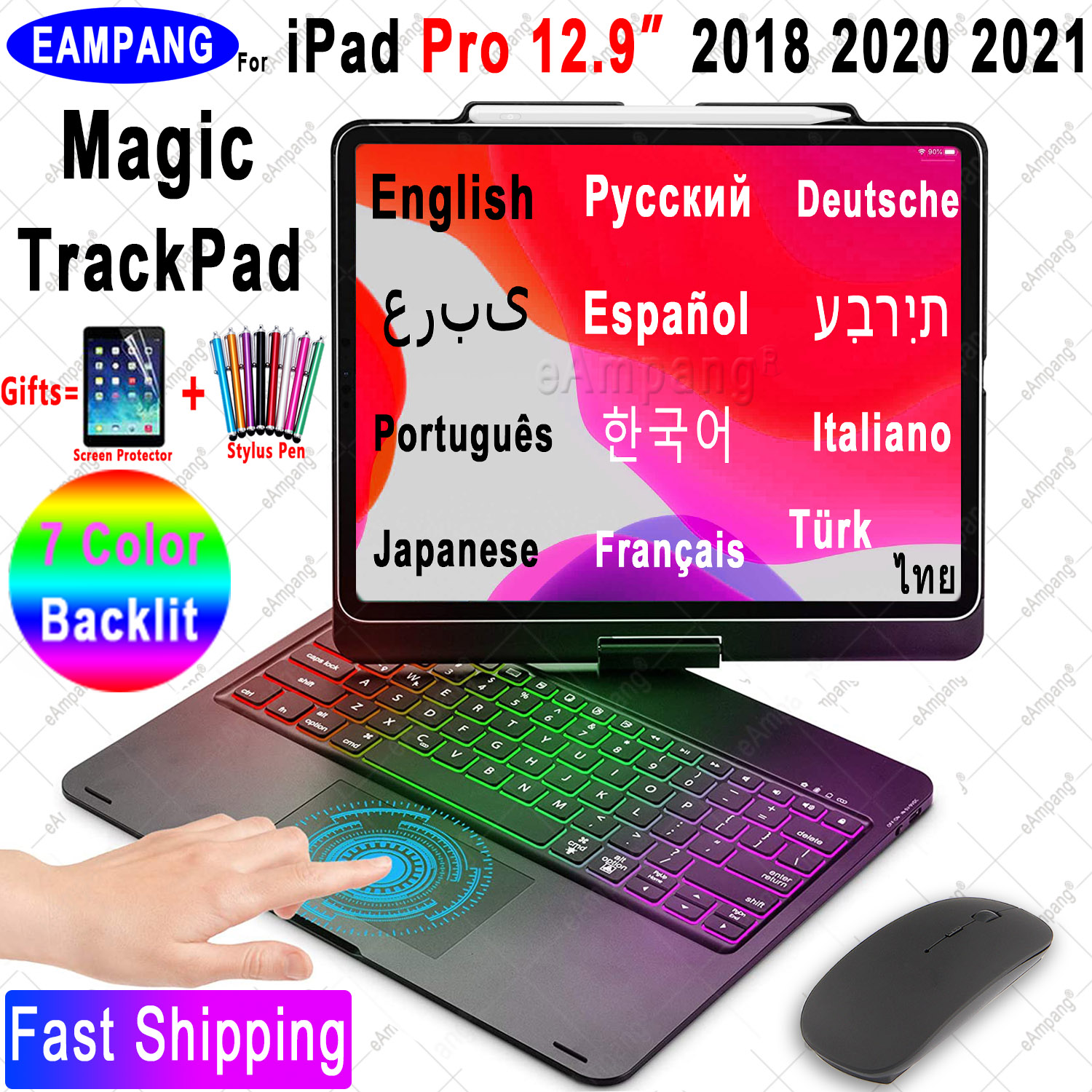 Permalink to Magic Touchpad Keyboard Mouse Case for iPad Pro 12.9 2018 2020 2021 Russian Arabic Korean Hebrew Spanish Portuguese Keyboard