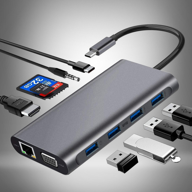 Koncentratora USB do wielu USB 3 0 Adapter USB stacja dokująca dla MacBook Pro akcesoria typu C 3 1 Splitter 3 Port dla produktu stacje dokujące do laptopów VGA HDMI tanie i dobre opinie HAIMAITONG usb typu c CN (pochodzenie) HDMI Czytnik Kart RJ45 USB 3 1