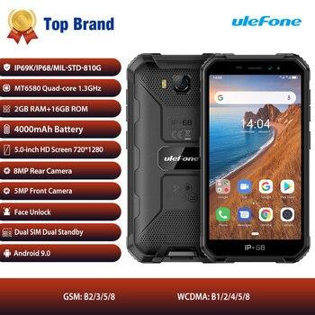 Перейти на Алиэкспресс и купить Ulefone Armor X6 IP68 водонепроницаемый прочный смартфон 2 ГБ + 16 ГБ Android 9,0 4000 мАч для распознавания лица 8MP мобильный телефон открытый 3g мобильный тел...