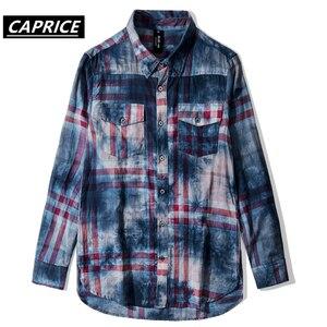 Image 3 - Tie Dyeing Plaid Mens Shirts 2019 Fashion Harajuku Streetwear Tops Hip Hop Casual Cotton Oversized Male Long Sleeve