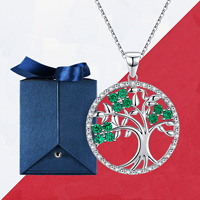 Christmas Gift Tree of Life Necklace Women 925 Sterling Sliver Chain Jewelry Femme Long Necklaces Jewellery with Cute Box
