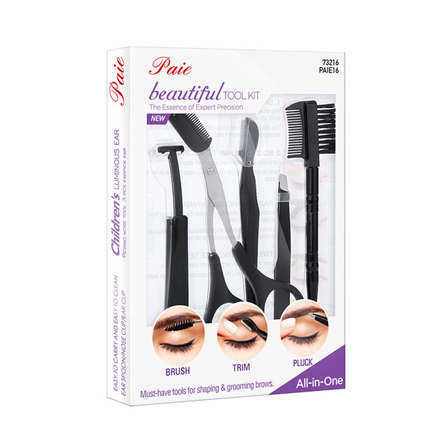Beauty tools eyebrow trimming small scissors stainless steel eyebrow scraping comb eyebrow clip eyebrow trim eyebrow cutting set 4