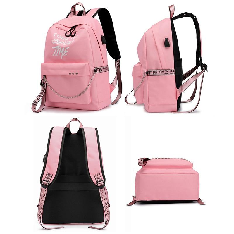 Image 4 - USB Charging new Luminous Chain Nylon female book bag backpack schoolbag school bag travel pack women for teenage teenagers girlBackpacks   -