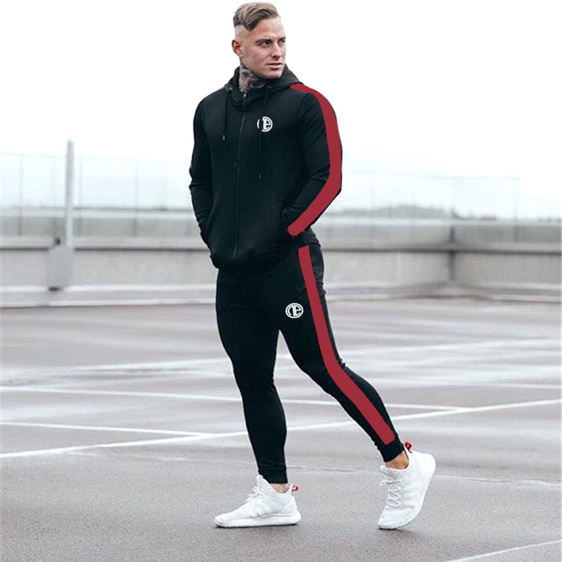 2019 Spring Autumn NEW Sporting Suits Mens Male Casual Fashion Gyms Fitness Tops Trousers Outdoor Training Hoodies Tracksuit