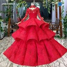 LS11290 suknia wieczorowa suknie wieczorowe na szyję z długim rękawem lace up powrót róża suknie ślubne zakładka wielowarstwowa vestido longo