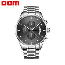 DOM New Fashion Mens Watches Top Brand Luxury Big Dial Military Quartz Watch Steel Waterproof Sport Chronograph Watch Men M 1313