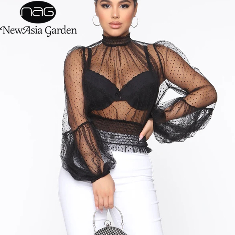 NewAsia Polka Dot Mesh Blouse Women See Through Lantern Sleeve Sexy Elastic Crop Top Turtleneck Blouse Shirt Party Clubwear 2020