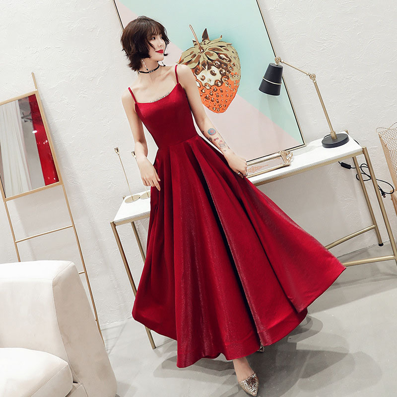 Solid Color Evening Dresses CR357 Burgundy A-Line Robe De Soiree Sleeveless Elegant Long Gowns Spaghetti Strap Women Party Dress