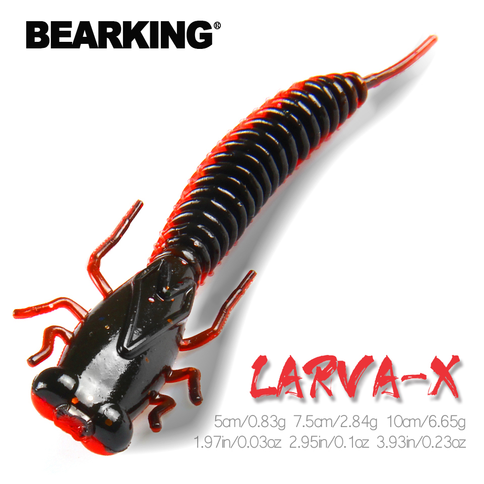 BEARKING Larva Soft Lures 50mm 75mm 100mm Artificial Lures Fishing Worm Silicone Bass Pike Minnow Swimbait Jigging Plastic Baits|Fishing Lures|   - AliExpress