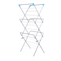 Iron 3 Tiers Foldable Hanger Clothes Drying Rack Balcony Clothes Storage Rack Household Clothes Shoes Hanger Baby Clothe Hangers