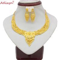 Adixyn кисточкой ожерелье и серьги набор украшений для женщин золото цвет ювелирные изделия эфиопские/арабские Свадебные/вечерние пункт N11163