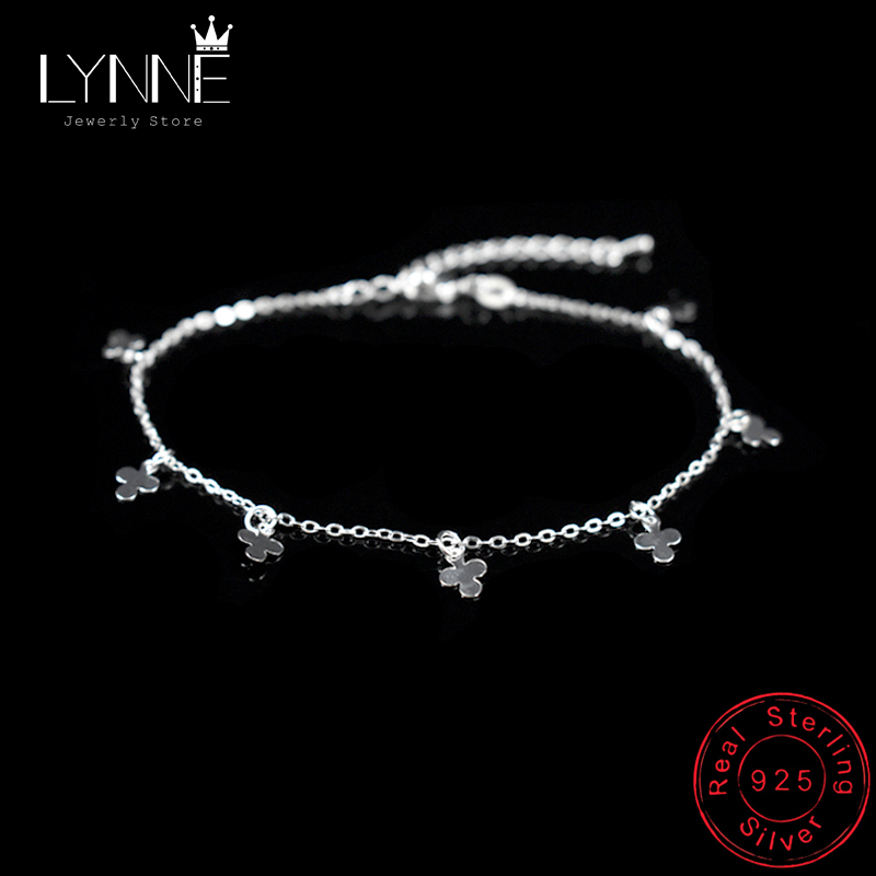 New Fashion Lucky Three Leaf Clover Pendant Anklets Bracelet 925 Sterling Silver Cross Anklet Foot Chain For Women Jewelry Gift