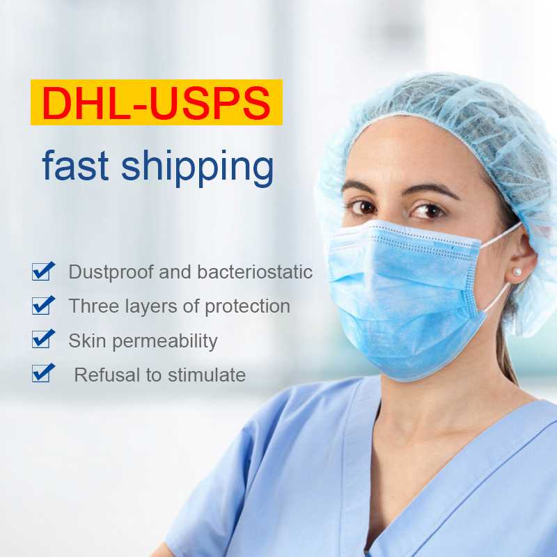 20 / 50 / 100pcs Disposable Mask, DHL USPS Fast Shipping ,Three-layer Mask, Dust-proof And Breathable Surgical Mask