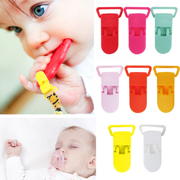 Baby Pacifier Clips Solid Plastic Pacifier Clips Soother Holder Infant Pacifier Nipples Holder Multi Color Clamp Toy image