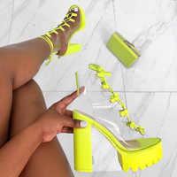 New Platform Heels Women Pumps 2020 Hot High Heels Women Shoes Cross Strap Women Sandals Transparent Women Heels Plus Size 42