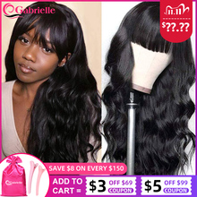 Gabrielle Body Wave Human Hair Wigs For Black Women Brazilian Short Bob Wig with Bangs Remy 30 Inch Full Machine Made Wigs