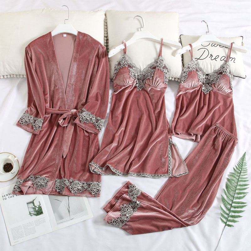 Women's Robe & Gown Set Gold Velvet Sexy Lace Pajamas Female Nightwear Long Sleeve Home Sleep Set Long Sleeve Clothes Pyiamas