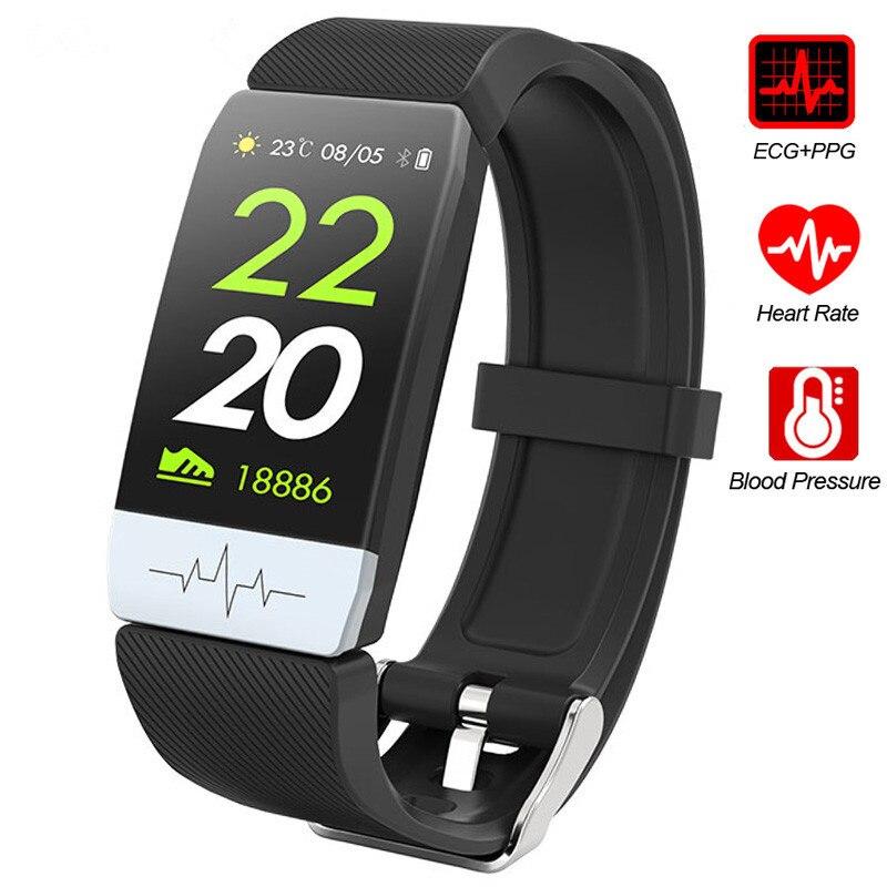 Q1S Fitness Tracker ECG + PPG Monitor de ritmo cardíaco resistente al agua banda inteligente pronóstico del tiempo pulsera inteligente nuevo para IOS Android CARLYWET 22mm alta calidad 316L Acero inoxidable correa de reloj de plata correas para La Bahía Negra Tudor