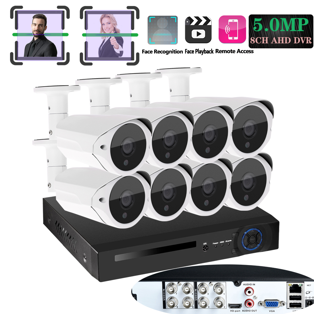 8CH DVR 5MP HD HDMI Outdoor Surveillance Security Camera System 8 Channel CCTV Veriface Pro DVR Recorder Kit AHD SONY Camera Set image