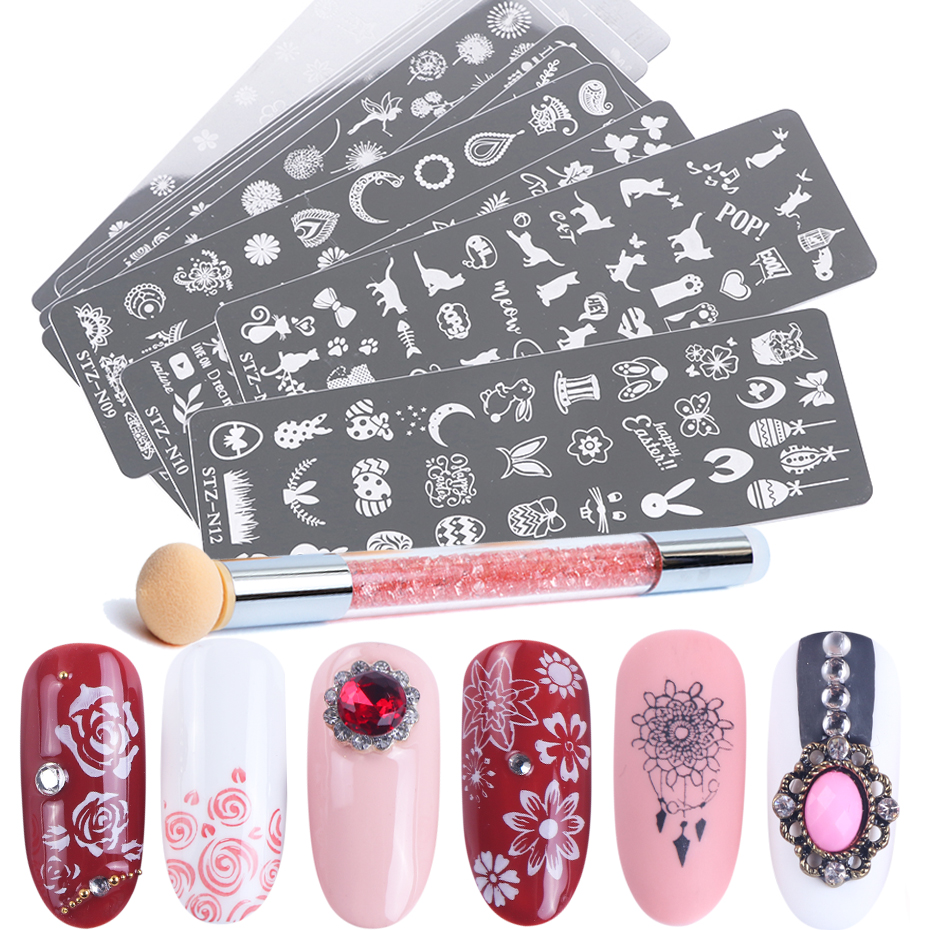 Nail Art Stamping Plate Set Double Sides Stamper Pen Image Stencil For Nail Polish Printing Template Manicure Tool BESTZN01-12-1