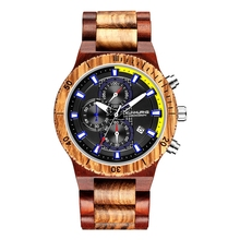 Wood Watches for Men Retro Chronograph Military Watch Full Natural Wooden Band Clock Man Quartz Calendar Wristwatch Reloj Hombre bewell men imported quartz movtment wooden watch man fashion calendar wood wrist watch waterproof wristwatch
