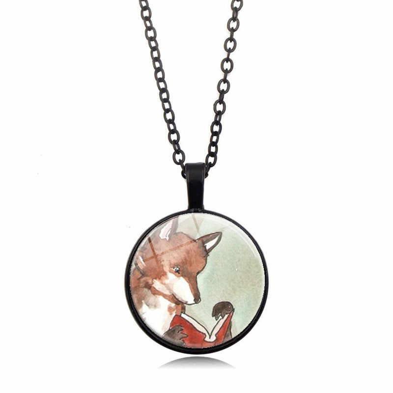 3 cores 2019 nova cúpula de vidro de natal colar charme lobo impressão arte pingente colar feminino masculino festa jóias presente atacado