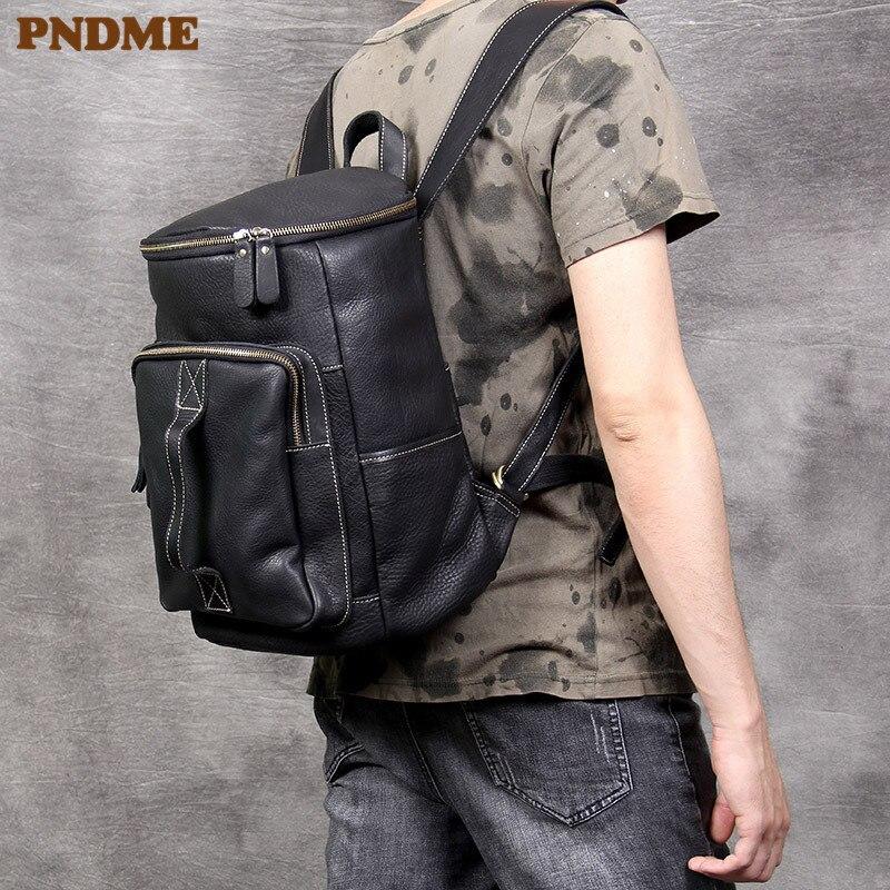 PNDME Fashion Casual Genuine Leather Men's Bucket Backpack Travel High Quality Cowhide Designer Bagpack Luxury Black Bookbag
