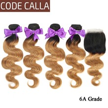 Code Calla Body Wave Hair Bundles With Lace Closure 6A Brazilian Remy Human Hair Weave Bundles T1B/4/30 Ombre Color For Africa 1 pcs boutique body wave ombre women s 6a virgin chinese hair weave